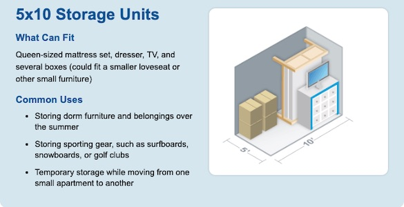 5x10 Self Storage Unit